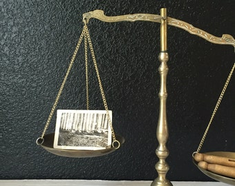 mid century gold tone brass metal scale display