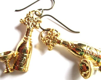 Gold Champagne Celebration Charm Earrings  Graduation Jewelry  Drinking Liquor Party Champagne Toast New Years Eve Earrings  - ER0034