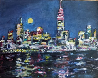 Original abstract citycape painting 11x14 New York Skyline at Night Empire State Building