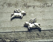 Flying Pig Charms Pig Pendants Antiqued Silver Pig Charms When Pigs Fly Fairy Tale Charms 10pcs