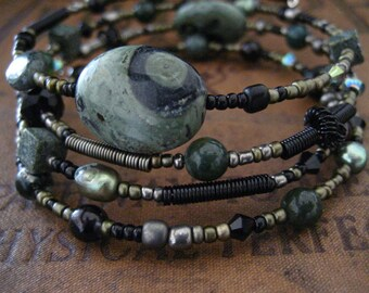Beaded Memory Wire Bracelet Multi Strand Green Kambaba Jasper Wrapped Bracelet