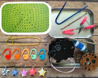 Lime Diamonds: The Knitter's Tool Tin for your Project Bag
