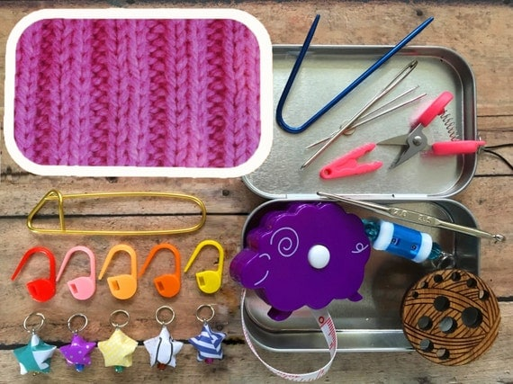 Pink Ribbing: The Knitter's Tool Tin for your Knitting Bag
