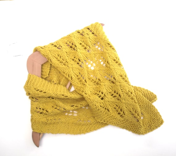 Summer scarf hand knitted in cotton linen mix yarn , mustard yellow scarf , lace pattern , summer neck wear , cotton accessory ,