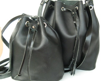 Black handbag!Leather bucket ! Womens Handbag!