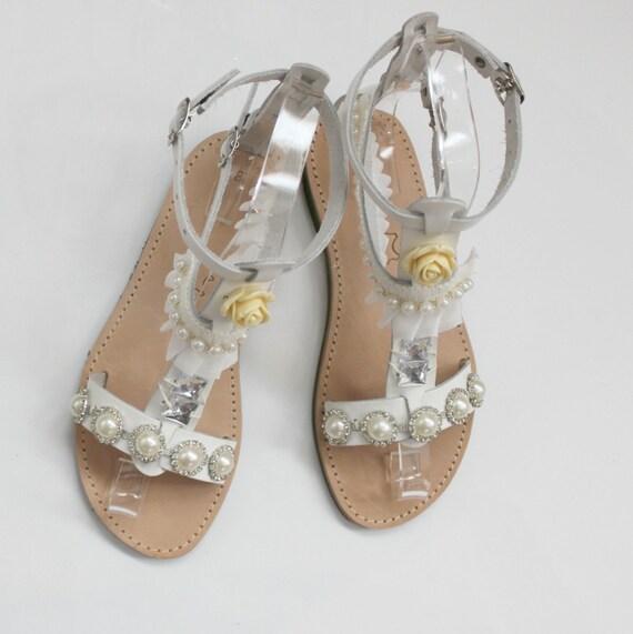 SALE ! White Sandals, Sandales mariage, bridal sandals , prom sandals,  sale size 38 /8-8.5 US Bridal sandals, Bridesmaid sandals/