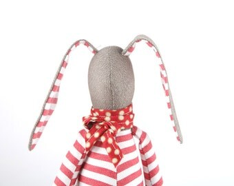 Stuffed baby bunny doll, SMALL plush softie rabbit doll - olive rabbit doll in red striped shirt & dotted scarf - Fabric toy Rag doll Bunny