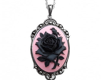 Bridal Black Rose Necklace, Flower Necklace, Pink Jewelry, Statement Necklace. Mother Christmas Gift
