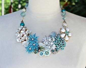 Vintage Enamel Flower Statement Necklace, Brooch, Turquoise Blue, White, Rhinestone, Gold, Silver, Upcycled, Collage, Jennifer Jones, OOAK
