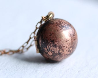 Moon Sphere Locket ... Globe Planet Vintage Copper Ball Pendant