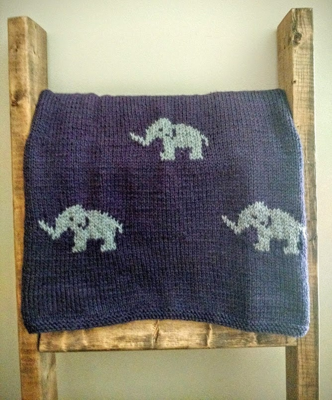 Elephant Blanket Knitting Pattern Free : Hand Knit Elephant Car Seat/ Stroller Baby Blanket by jenncfish