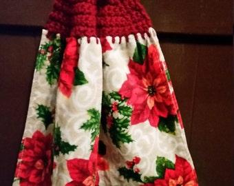 Hand crochet kitchen towel.