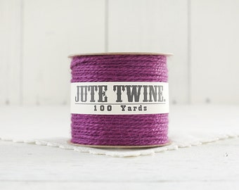 Jute Twine - 100 Yard Spool of Twine, 2-Ply Rustic Craft String, Grape Purple