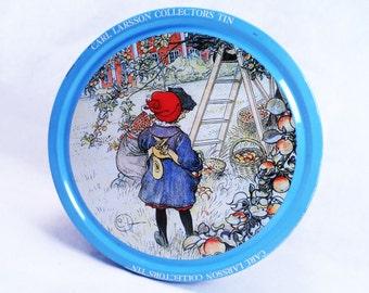 "Carl Larsson ""Apple Harvest"" Collectors Cookie Tin Vintage 1987"