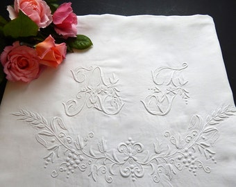 Vintage Linen French Bed Sheet with Embroidery