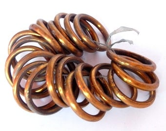 Vintage French Gold Coloured Metal Curtain Rings 20 Rings Very 'Shabby'