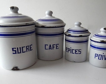 RESERVED FOR WILKIE 4 French Vintage Enamelware Canisters Complete Set with Lids Blue and White