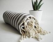 SALE 50 OFF/ Turkish Beach Bath Towel Peshtemal / Gray Striped / Bath, Beach, Spa, Swim, Pool Towels