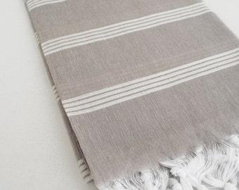 SALE 70 OFF/ Turkish Beach Bath Towel Peshtemal / Warm Gray / Wedding Gift, Spa, Swim, Pool Towels and Pareo