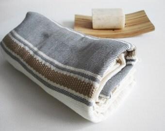 SALE 50 OFF/ Turkish Beach Bath Towel Peshtemal / Natural - Gray / Wedding Gift, Spa, Swim, Pool Towels and Pareo