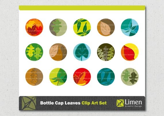 Items similar to Seasonal Leaves Bottle Cap Clip Art ...