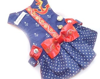 Small Dog | Dog Harness |  Fancy Dog Harness Dress | Nautical | Anchors Away Harness Dress