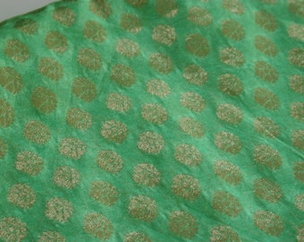 green and Gold paisleys - 1 yard of Cotton Silk Brocade Fabric in Light Green