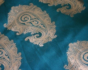 Teal Paisleys - 1 yard of Silk Brocade Fabric in turquoise with large gold paisleys woven in
