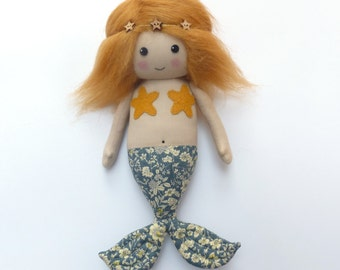 mermaid doll, cloth mermaid, mermaid rag doll, red-haired, ginger-haired mermaid