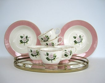 Vintage Coffee Tea Cup Set of Six 6 Pink Creamy White Rose Wide Band Floral Serving Bowls Homer Laughlin Glenwood International D. S. Co