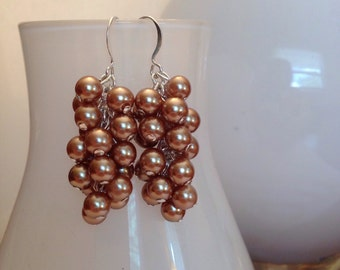 Champagne Pearl Cascade Earrings - Bridal Jewelry