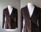 Vintage 70's Brown Hipster Jacket Brown Jacket Velvet Jacket Blazer Smoking Jacket Medium Jacket Velveteen Brown Velvet Fitted Coat  Women's