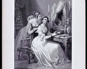 Victorian Antique Steel Engraving, THE ORPHAN SISTERS, 1843