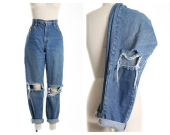 All SIZES Busted Knees Mom Jeans also in Plus Sizes