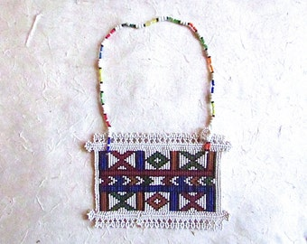 Vintage Pakistani Beaded Necklace | Handmade | Glass Beaded Necklace | Folk, Boho, Hippie