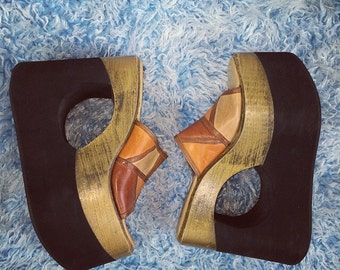 90's Leather Patchwork Cut Out Mega Platform Wedge Sandals // 7