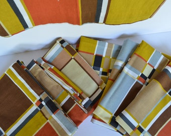 Midcentury Fabric Mod Mondrian Fabric 1970s (Lot of 8 Pieces)
