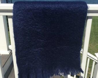 Vintage Mohair Shawl, Royal Blue Glentana Scottish Wool Wrap