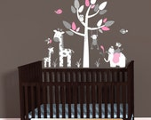 Mini Above Crib Decal, Gray Pink Chevron Theme, Elephant Wall Decal, Giraffe decal, Monkey wall decal, Jungle Nursery Decal, Baby Girl Room