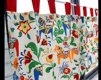 Cafe Curtain Window Valance/Window Treatment Topper/Kitchen/Bathroom/Kids Nursery Living Room-Cotton Swedish Dala Horse Flower,GET FREE GIFT