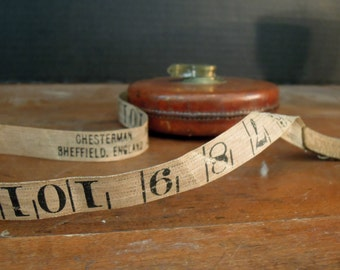 Vintage 50 Foot Chesterman Sheffield England Measuring Tape / Brown Leather / Garage Chic / Garage Tools / Tape Measure