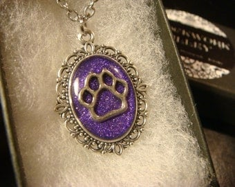 Small Cat / Dog Paw Necklace - Purple Glitter Background (2095)