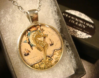 Gold Seahorse over Vintage  Map  Pendant Necklace (2122)