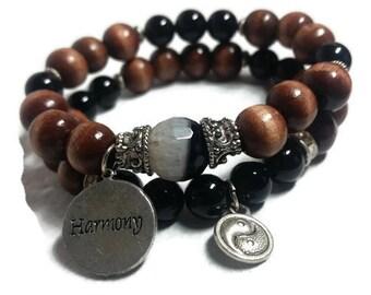 Yin Yang Harmony Agate Mala Meditation Healing Bracelet Set