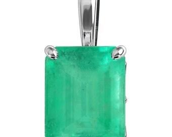 0.90 Carat Colombian Emerald Emerald Cut 4 Prong Pendant 14K Emerald Cut Emerald Yellow Gold Pendant, Green Emerald White Gold Pendant