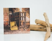 "bye bye birdie - photo-encaustic art - 15x15cm (6x6"") chair abandoned creepy spooky encaustic photo-encaustic photography decay"
