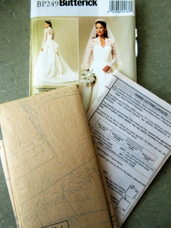 Wedding Dress Pattern Butterick BP249 Bridal Gown Lace
