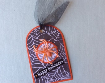 Gift Tags, Halloween, Set of 6, Holiday Tags, Hang  Tags, Spider