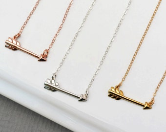 Silver, Gold or Rose Gold Arrow Necklace, Sideways Arrow Necklace, BFF Gift, Best Friend Necklace, Big Little Sorority, Graduation Necklace