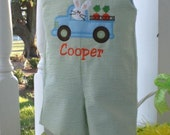 Custom Green and white seersucker Boys Easter Bunny in truck Monogrammed Applique Shortall Jon Jon or longall. Personalized with name